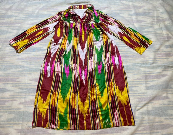 SALE!!! Uzbek Vintage Silk Ikat Dress Tunic Chemis