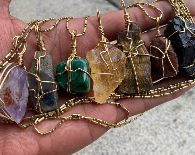 Sapphire Citrine Ruby Amethyst /& Tigers eye Royal Package exclusive 7 crystal brass pendants with 3 chains Black Tourmaline Malachite