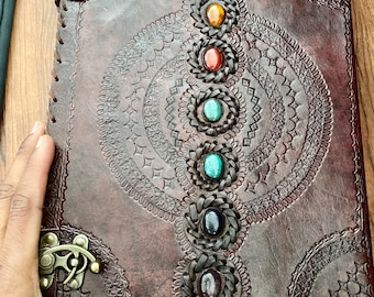 Natural Large Leather 7 chakra journal