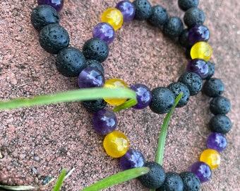 "Natural Lava Stone, Yellow Calcite & Amethyst gemstone bracelet ""Mamba Forever"""