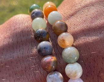 Natural Chakra shower 8mm beaded bracelet