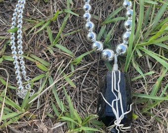 """Natural Smokey Quartz in sterling silver with 16"""" 4-10mm ascending silver beaded necklace"""