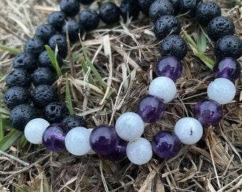 Natural Lava Stone x Rainbow Moonstone x Amethyst gemstone beaded bracelet