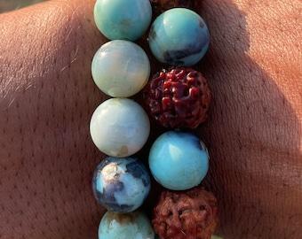 Natural Aqua Terra Agate 12mm beaded bracelet (RUDRAKSHA optional)
