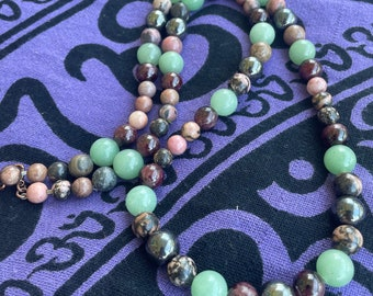 Natural Handmade Rhodonite, Green Aventurine, Hematite & Garnet Crystal beaded necklace