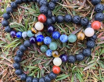 Natural Lava stone big beaded bracelet
