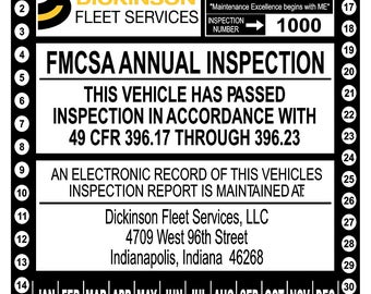 Annual Vehicle Inspection Sticker For 49 CFR Part 39617 Through 39623 Personalized With Form