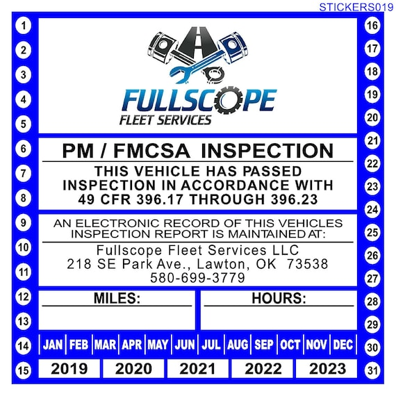 Personalized Combination Preventative Maintenance / Annual Vehicle  Inspection Sticker for 49 CFR Part 396 17 through 396 23 (w/Company Logo)