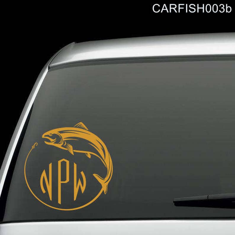 Fish and Hook with Three Letter Monogram Car Window Decal | Etsy