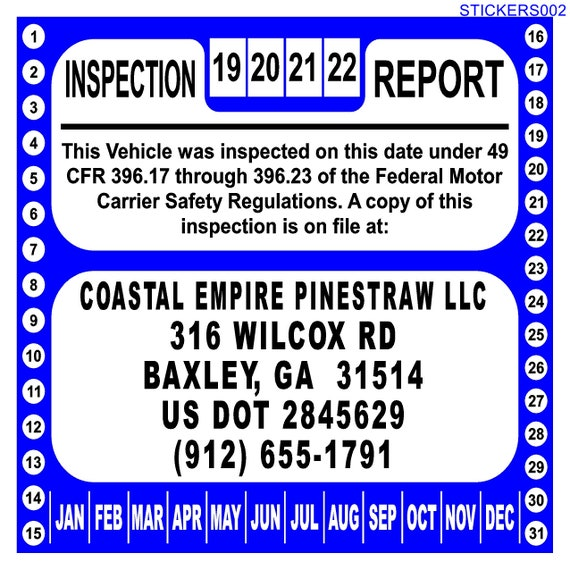 Annual Vehicle Inspection Sticker For 49 Cfr Part 396 17 Through 396 23 Personalized Without Form