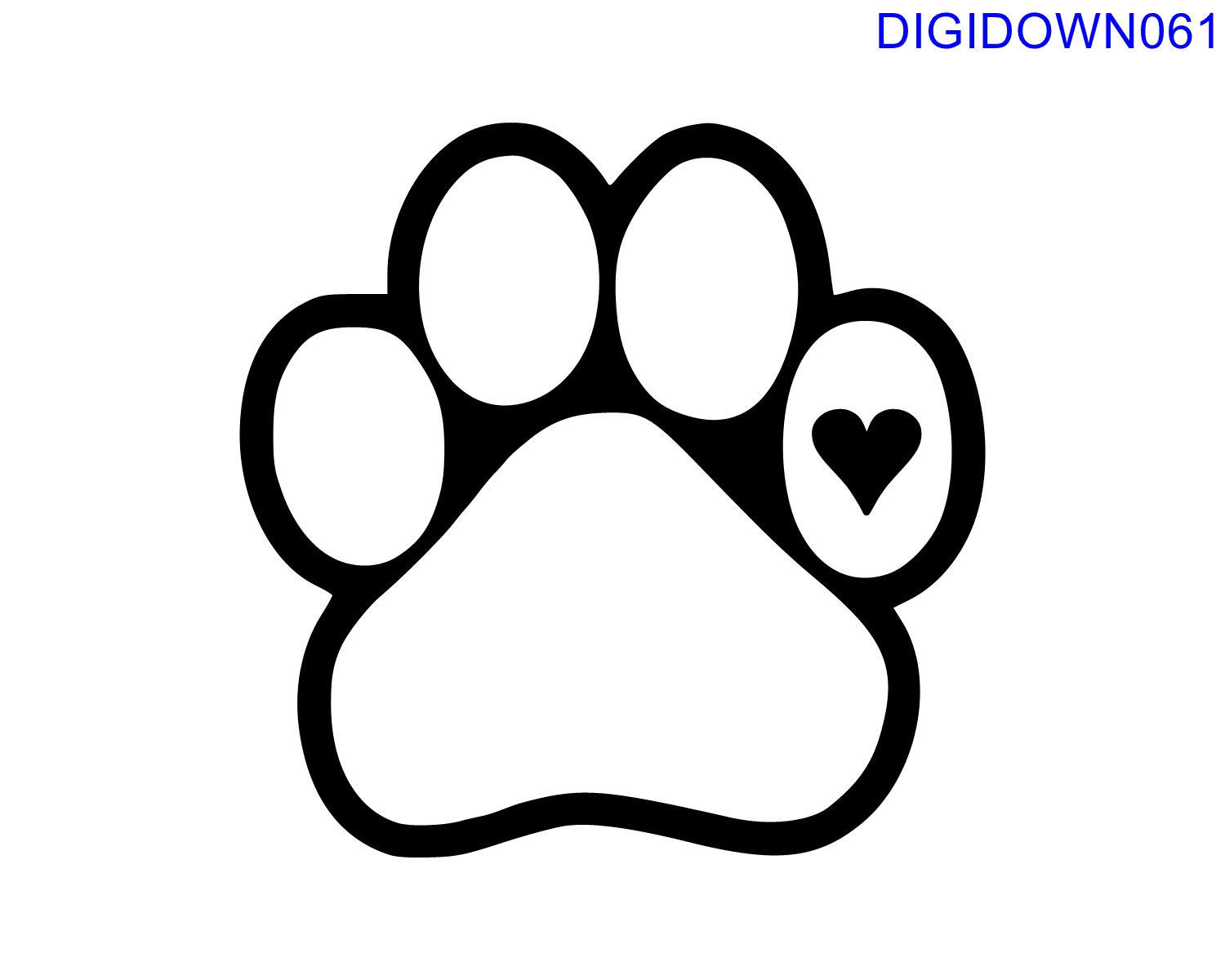 Download Dog Paw with Heart SVG Cut File mtc svg pdf eps ai | Etsy