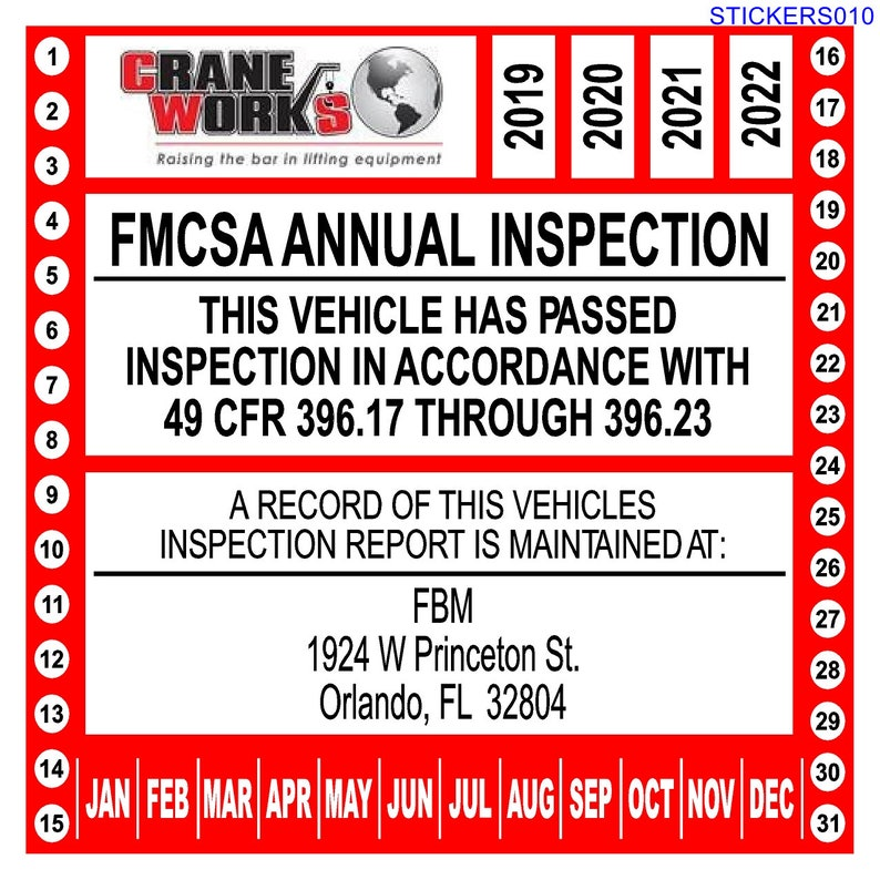Annual Vehicle Inspection Sticker for 49 CFR Part 396 17 through 396 23  (Personalized, Without Form)