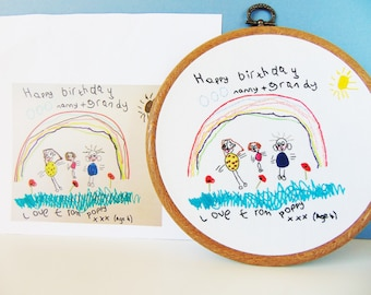 Fathers Day Gift, 'Your Childs Drawing' into a Hand Embroidered Hoop / Grandparent Gift From Children, Daddy Gift, Gift From Kids