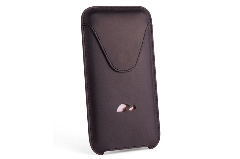 the best attitude b505b 182cd iPhone 7 Plus Leather Pouch - iPhone 7 Plus Sleeve - Slim Case iPhone 7  Plus - Sleeve Case - Natural Leather - BLACK