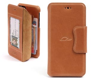 iPhone 8 Wallet Case - iPhone 8 Leather Case - Personlaized Leather Wallet Case - Flip Case - Cards - Stand - LIGHT BROWN
