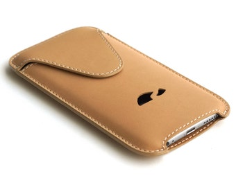 iPhone 6 Leather Pouch - iPhone 6 Leather Sleeve - iPhone 6 Slim Case - Leather case iPhone 6 - Veg-Tan Leather - BEIGE (CAMEL)