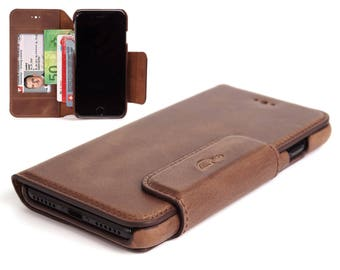 iPhone 8 wallet case leather - iPhone 8 Leather Case - Wallet Case iPhone 8 - Leather Cover - Stand - Vintage Leather - BROWN