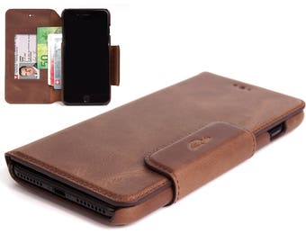 iPhone 8 Plus Leather Case - iPhone Leather Case - Wallet Case iPhone 8 Plus - Leather Cover - Credit cards - Vintage Leather - BROWN