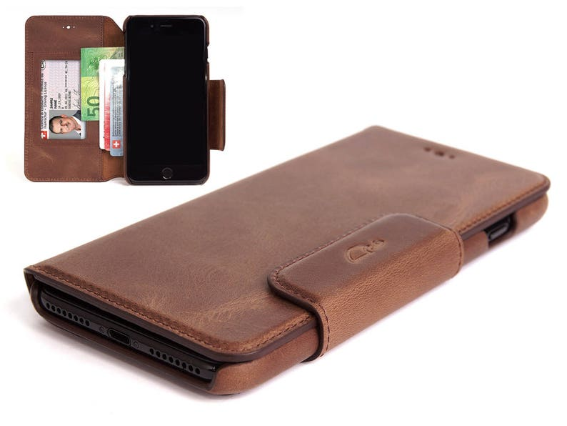 cheaper 90408 81ada iPhone 8 Plus Leather Wallet Case with Card Slot and Cash Compartment -  Vintage Leather Cover - Flip Case - BROWN