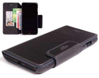 iPhone 8 Plus Leather Case - iPhone Leather Case - Wallet Case iPhone 8 Plus - Leather Cover - Credit cards - Vintage Leather - BLACK