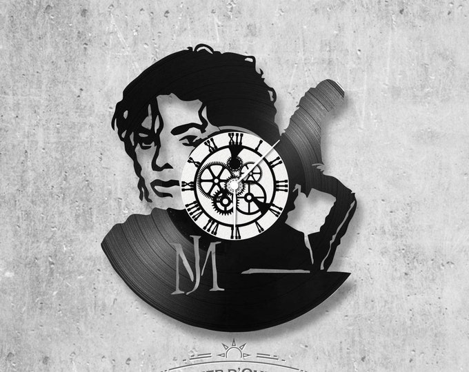 Vinyl record clock 33 rounds Michael Jackson theme double