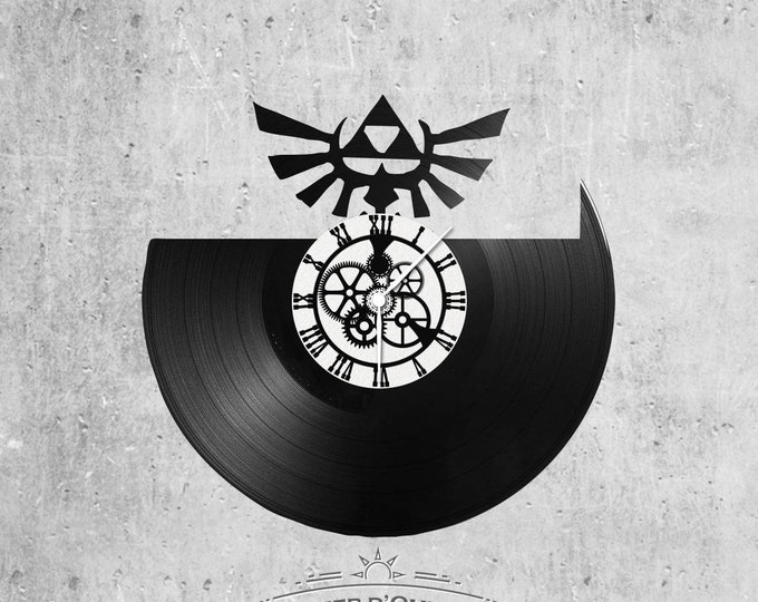 Vinyl disc clock 33 rounds theme Zelda Logo