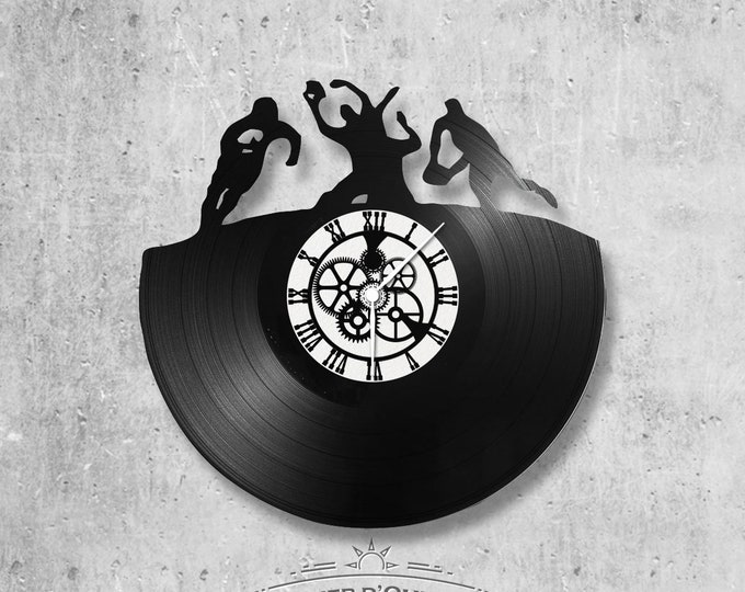 Vinyl record clock 33 rounds Rugby theme