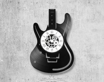 Vinyl record clock 33 rounds Guitar theme
