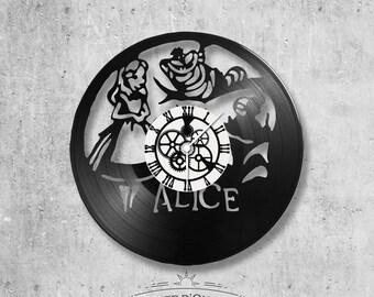 Horloge en disque vinyle 33 tours thème Alice