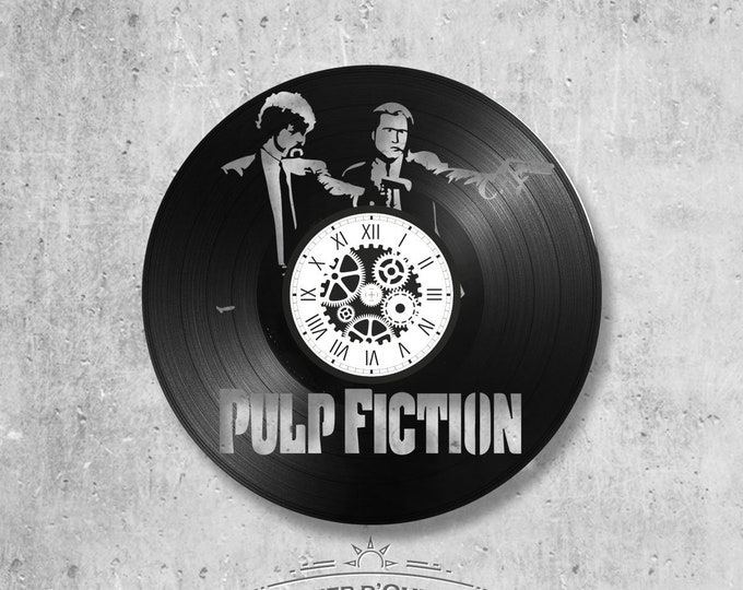33-turn-handmade vinyl wall clock/Pulp fiction theme Travolta Fievre on Saturday night