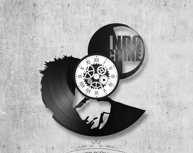 33-turn handmade vinyl wall clock / Indochina theme, rock band, Nicolas Sirkis