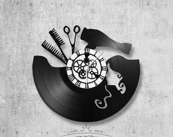 Vinyl record clock 33 rounds theme Hairdresser