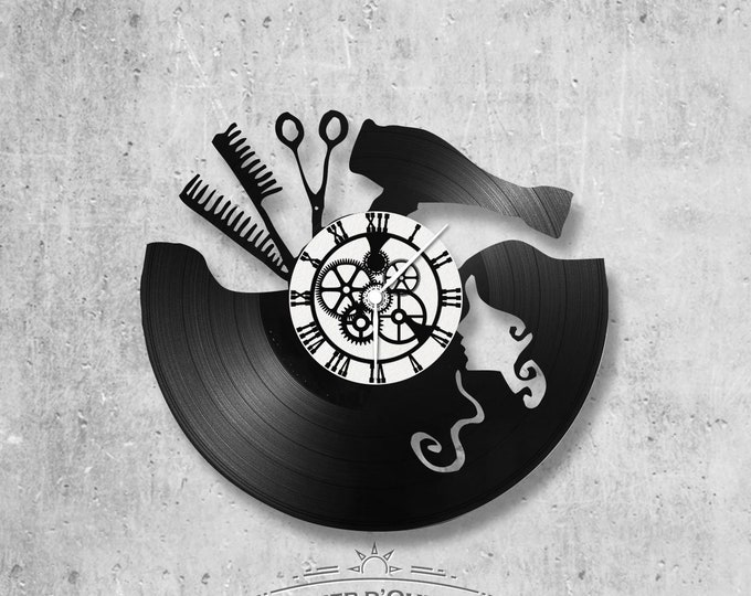 Vinyl record clock 33 rounds theme Hairdresser