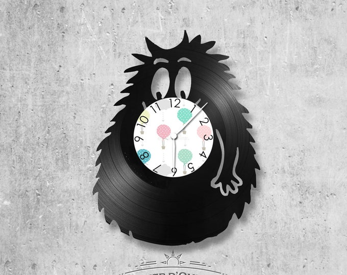Vinyl record clock 33 rounds Barbabouille theme