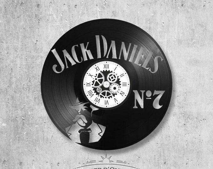 Vinyl record clock 33 rounds Jack Daniel's theme
