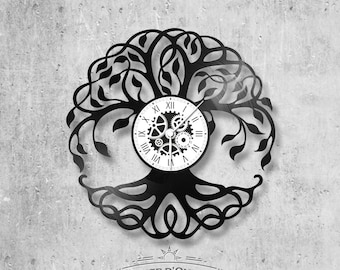 33-turn handmade vinyl wall clock /theme Tree of Life, symbol, earth