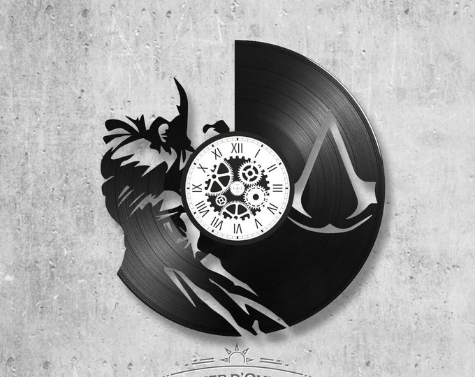 Vinyl record clock 33 rounds Assassin Creed theme