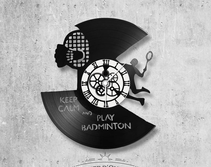 Vinyl record clock 33 rounds Badminton theme