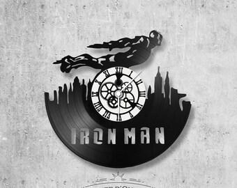 Wall clock vinyl 33 rounds hand made / Iron man, avengers, marvel, fantastic movie theme