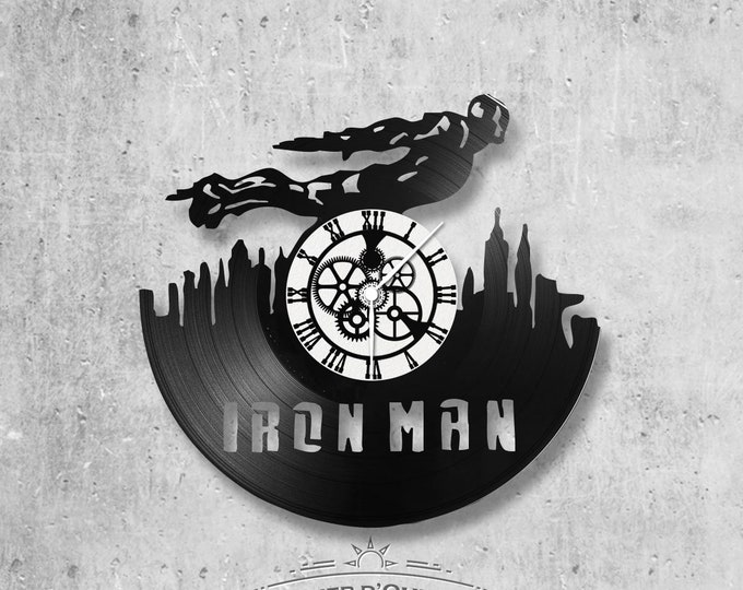 33-round handmade vinyl wall clock/Iron man theme, avengers, marvel, movie, fantasy