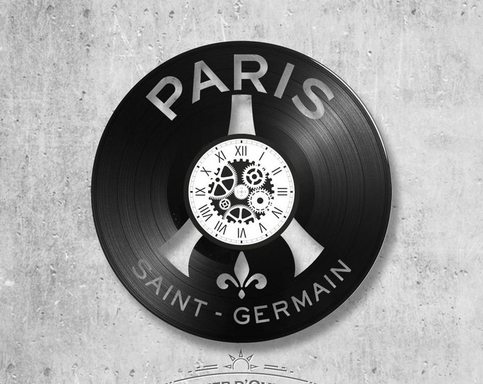 33-lap handmade vinyl wall clock/ PSG football theme