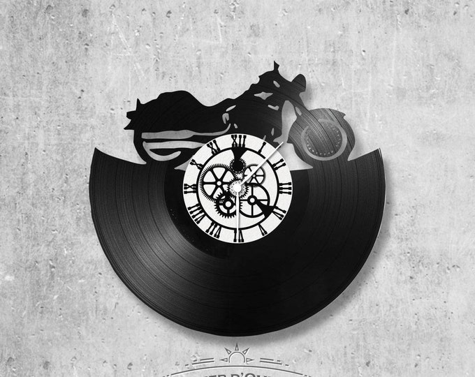 Vinyl record clock 33 rounds Harley Davidson theme