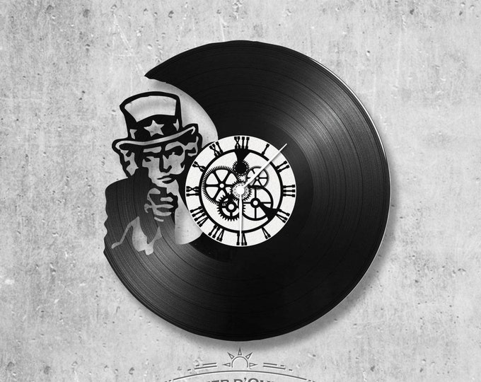 Vinyl record clock 33 rounds theme Yes we can