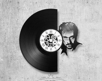 Vinyl record clock 33 rounds Johnny Hallyday theme