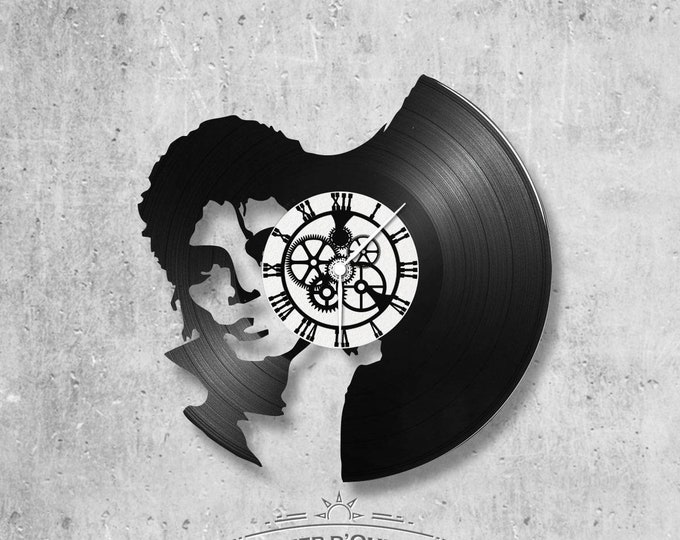 Vinyl record clock 33 rounds theme mickael Jackson Portrait