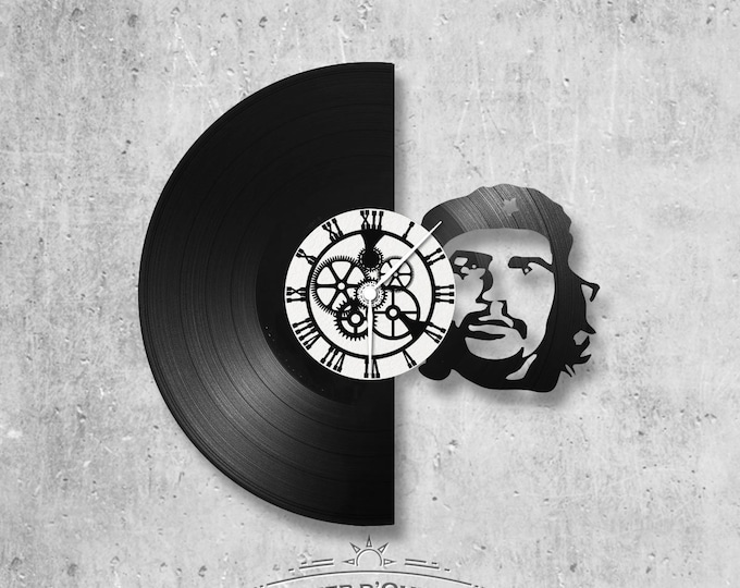 Vinyl record clock 33 rounds Che Guevara theme