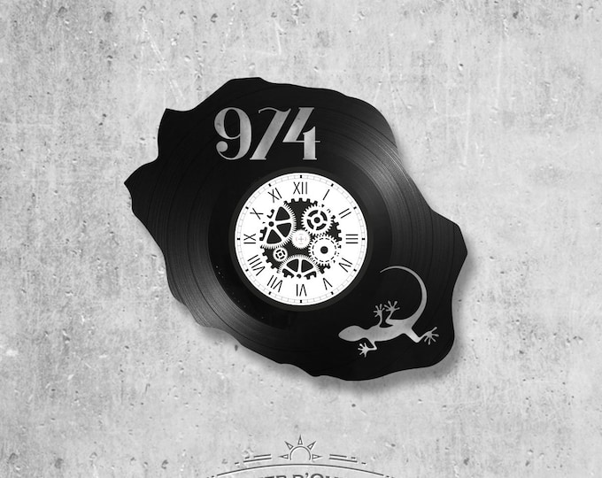 Vinyl record clock 33 rounds Reunion Island theme
