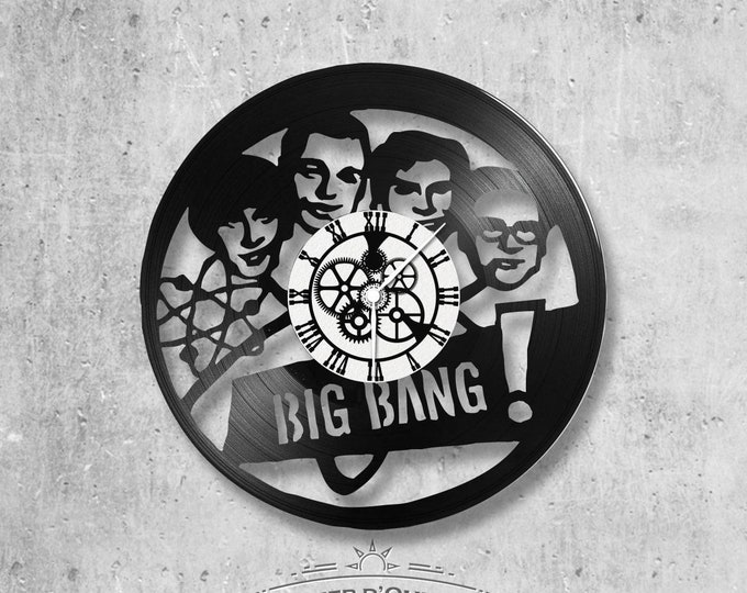 Vinyl record clock 33 rounds theory Big Bang theme
