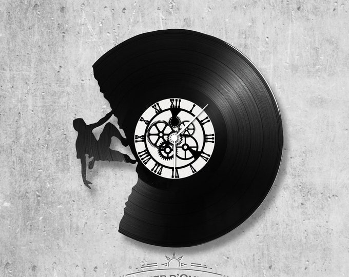 Vinyl 33 clock turns climbing theme