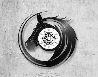 Vinyl record clock 33 rounds theme Horse
